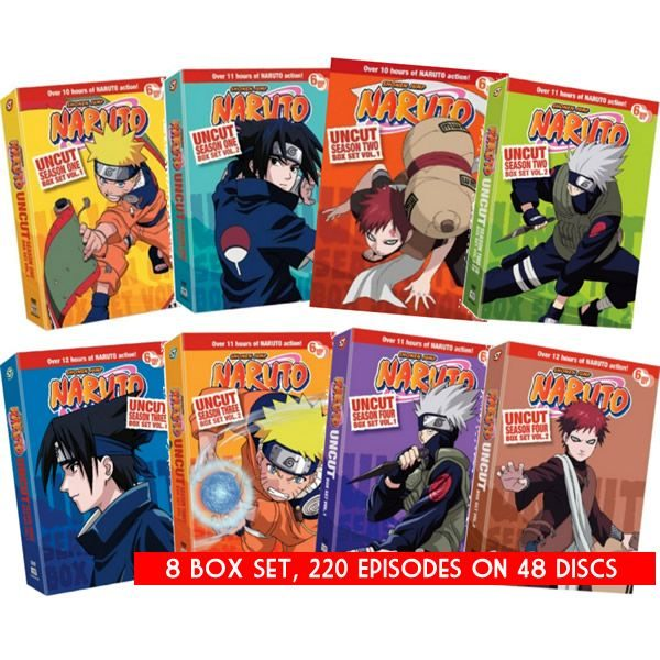 dvd sales uk naruto uncut complete series 1-4 box set